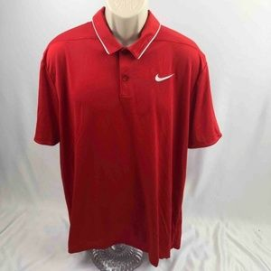 Nike Golf Dri Fit Mens Polo Shirt Red White Trim